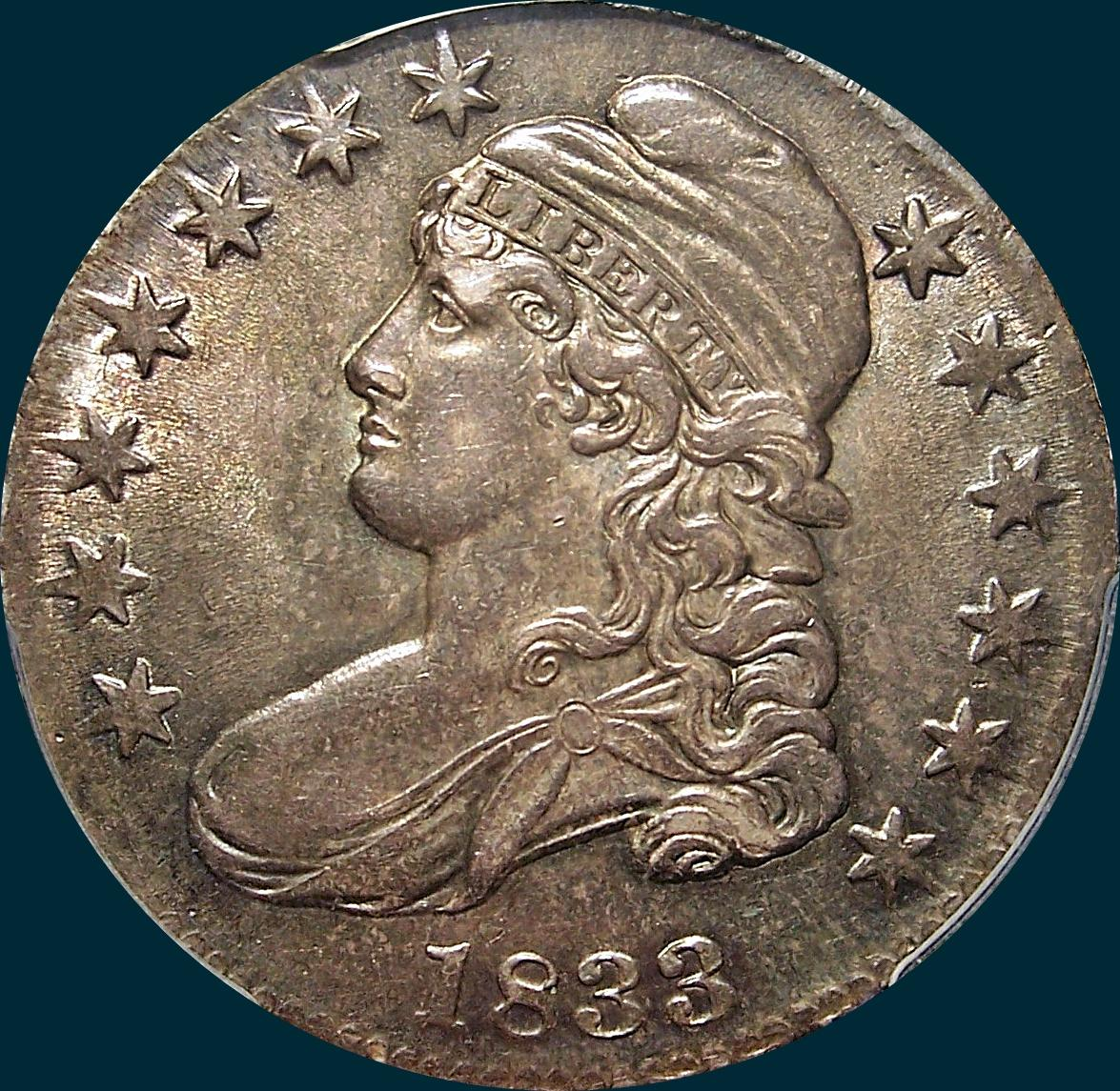 1833 O-106, capped bust half dollar