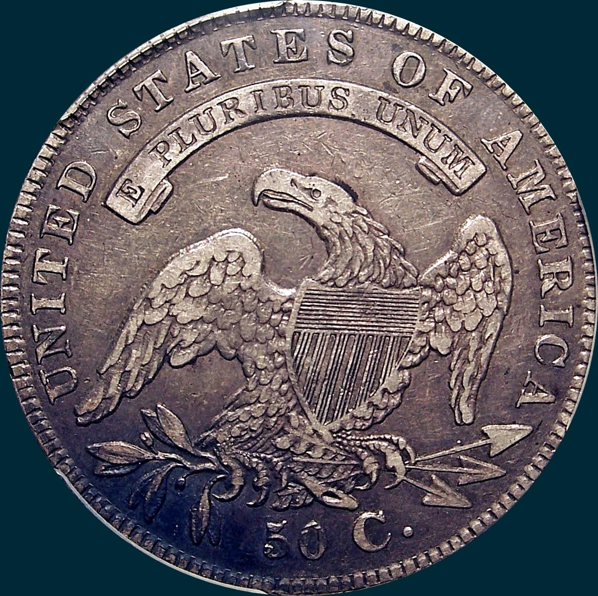 1836/1336 O-108, capped bust half dollar