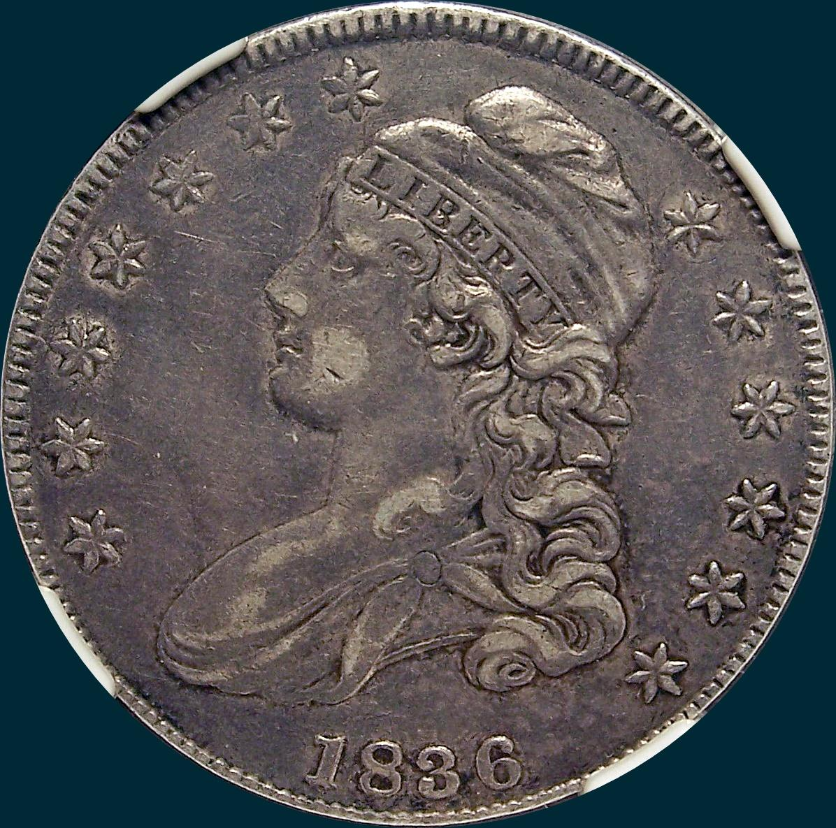 1836, o-120, capped bust, half dollar