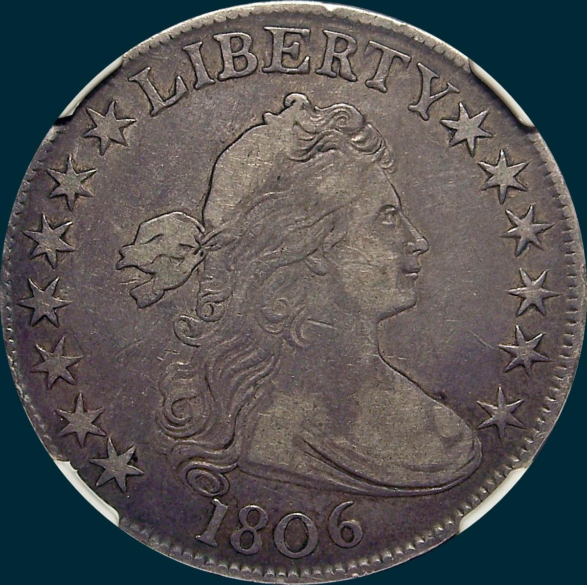 1806, O-109, Pointed 6, No stem, Draped Bust, Half Dollar
