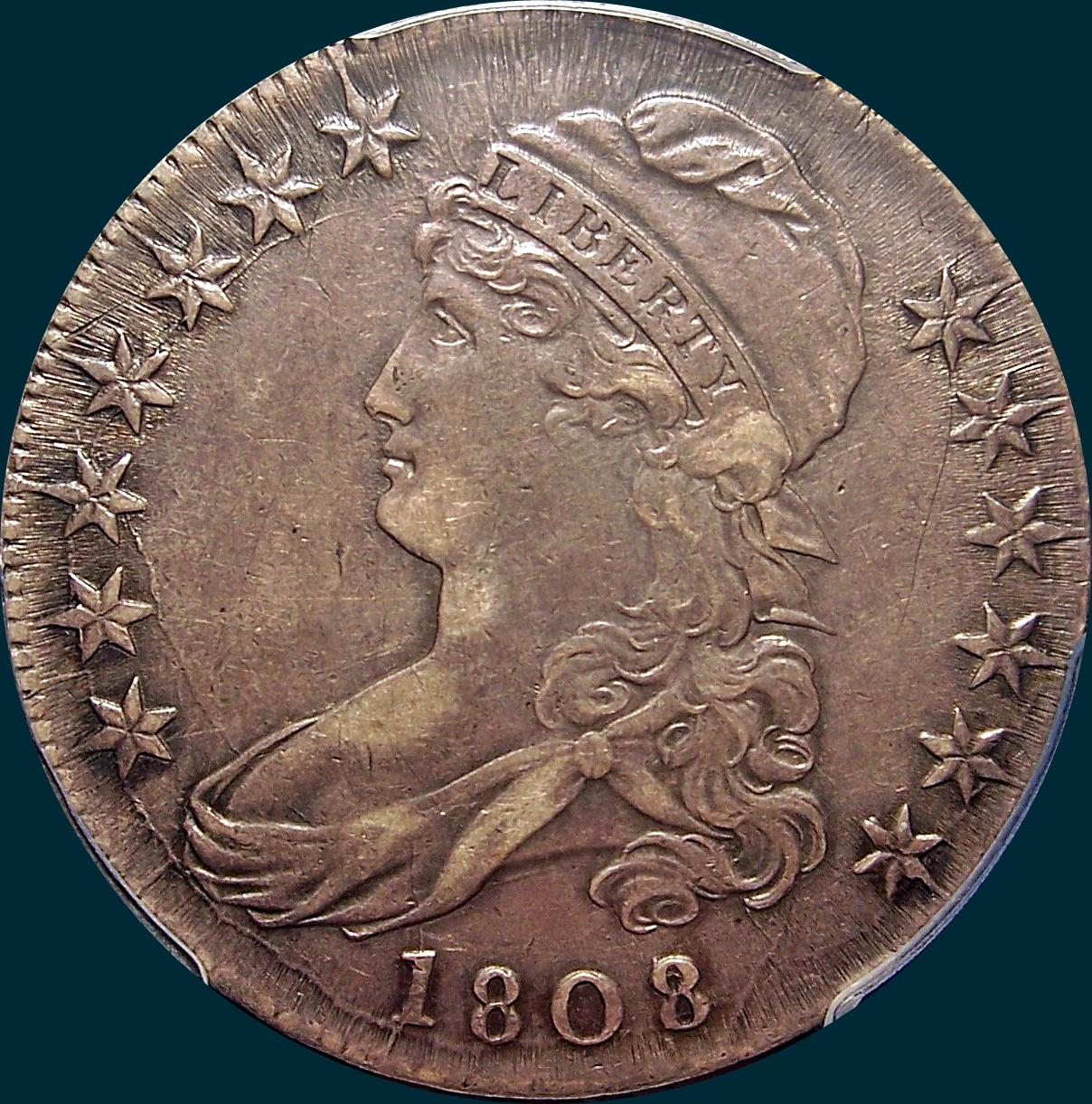 1808, 8 over 7, 8/7, Capped Bust, Half Dollar