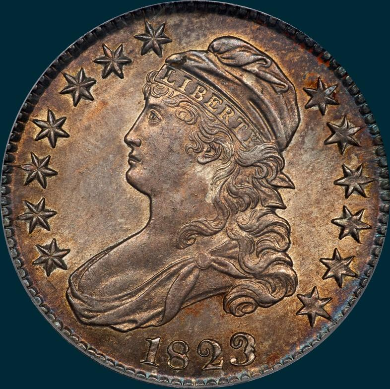 1823, O-101a, Patched 3, Capped Bust, Half Dollar