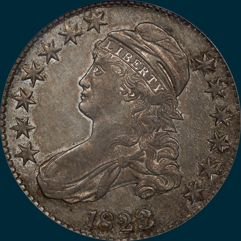 1823, O-108, Capped Bust, Half Dollar