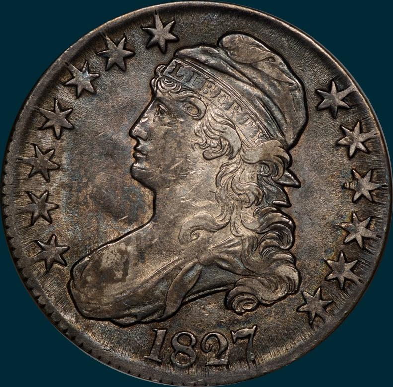 1827, O-135, R3, Square Base 2, Capped Bust, Half Dollar