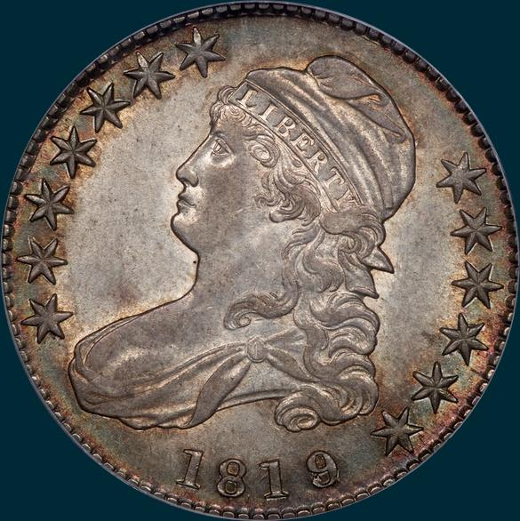 1819, O-103, Large 9 over 8, Capped Bust, Half Dollar
