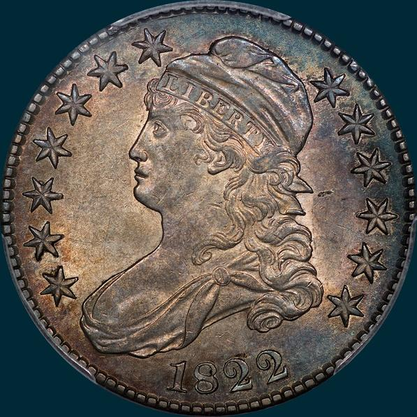 1822, O-115, Capped Bust, Half Dollar