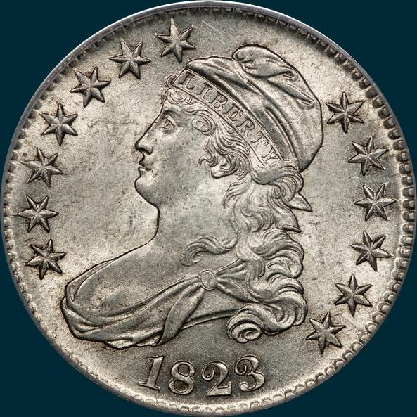 1823, O-107, Capped Bust, Half Dollar