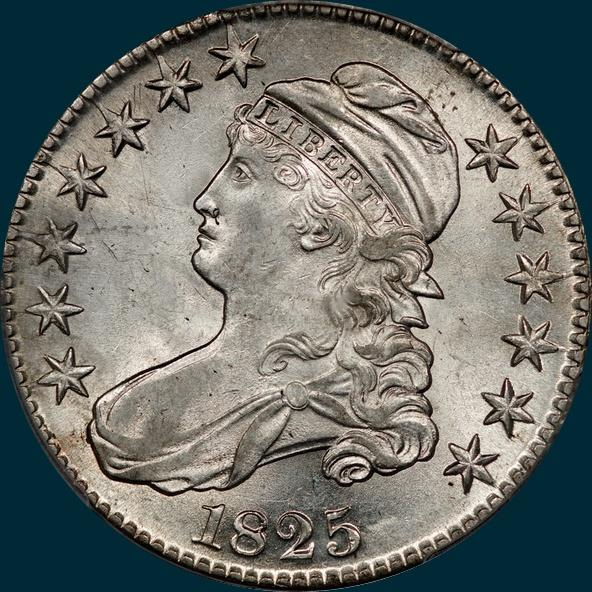 1825, O-104 capped bust half dollar