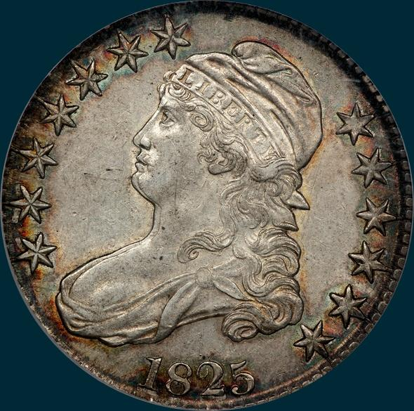 1825, O-109 capped bust half dollar