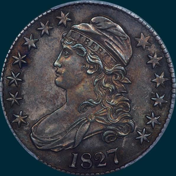 1827, o-109, capped bust, half dollar