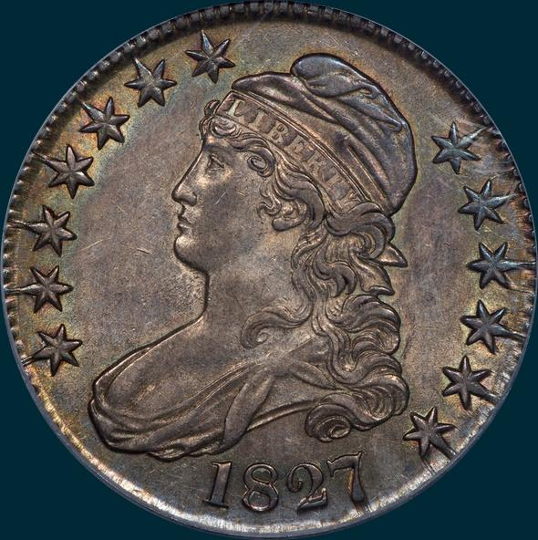 1827 O-143, Capped bust half dollar