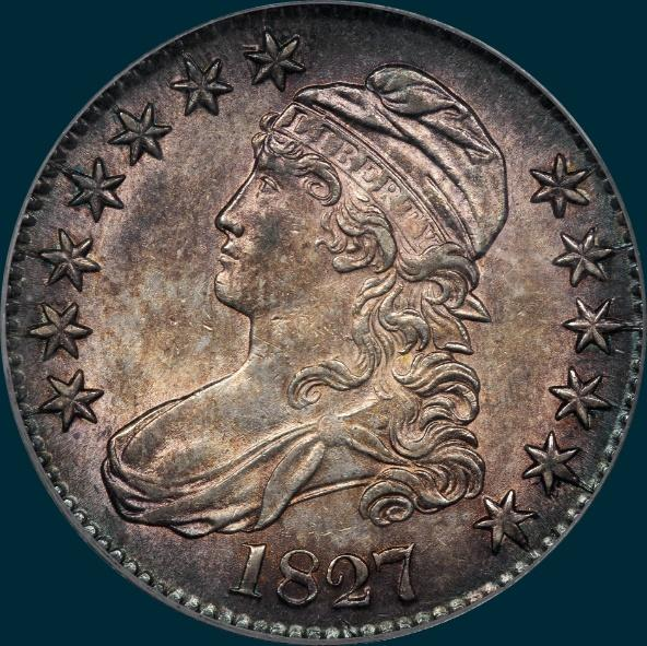 1827 O-132, Capped bust half dollar
