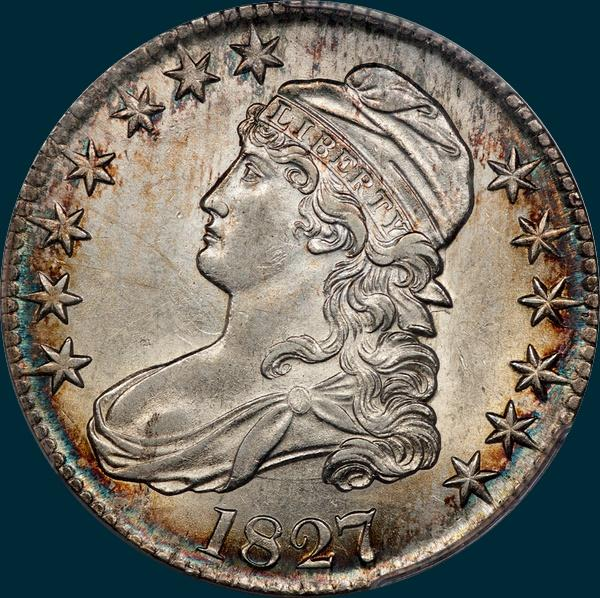 1827, O-112a, R3, Square Base 2, Capped Bust Half Dollar