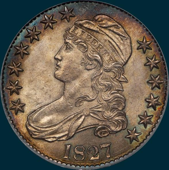 1827 O-116, Capped bust half dollar