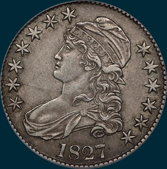 1827, O-116a, R4+, Square Base 2, Capped Bust, Half Dollar