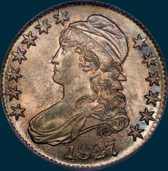 1827, O-142, R3, Square Base 2, Capped Bust, Half Dollar