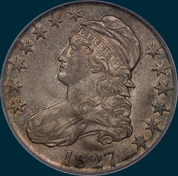 1827, O-122, R5, Square Base 2, Capped Bust, Half Dollar