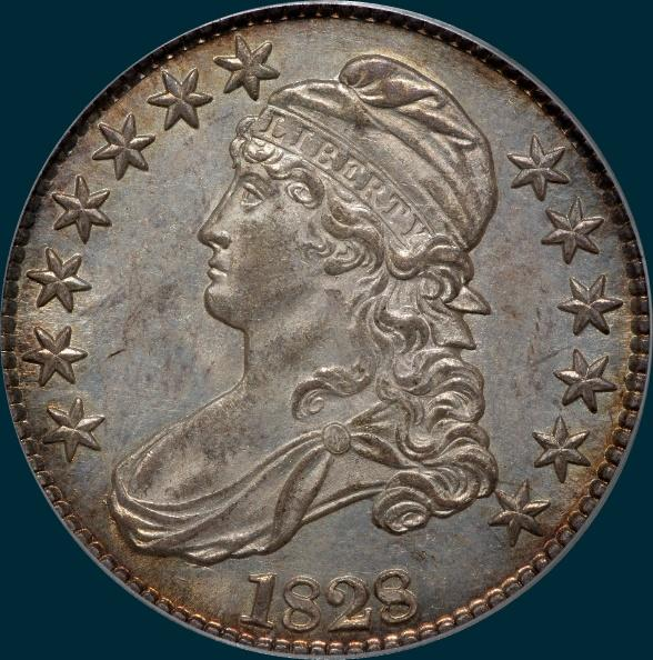 1828, O-114, Square Base 2, Small 8's, Large Letters, Capped Bust, Half Dollar
