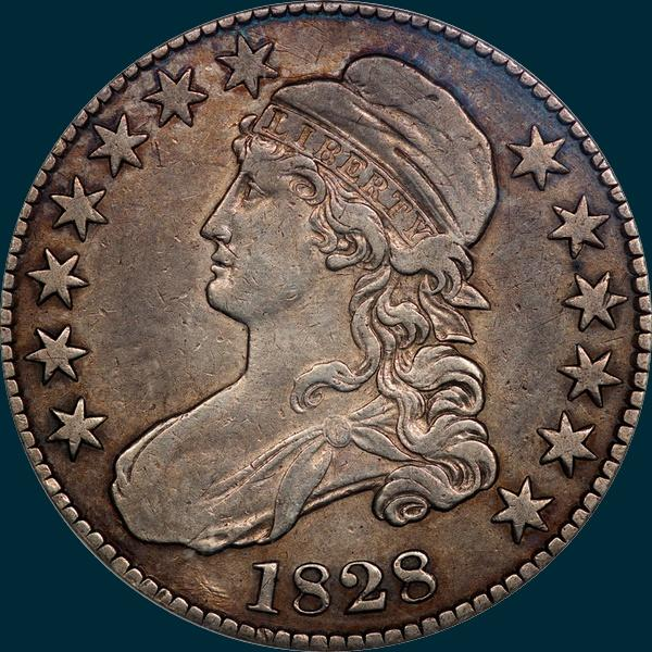 1828, O-123, Square Base 2, Small 8's, Large Letters, Capped Bust, Half Dollar