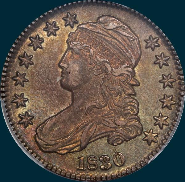 1830 O-111, small 0, capped bust half dollar