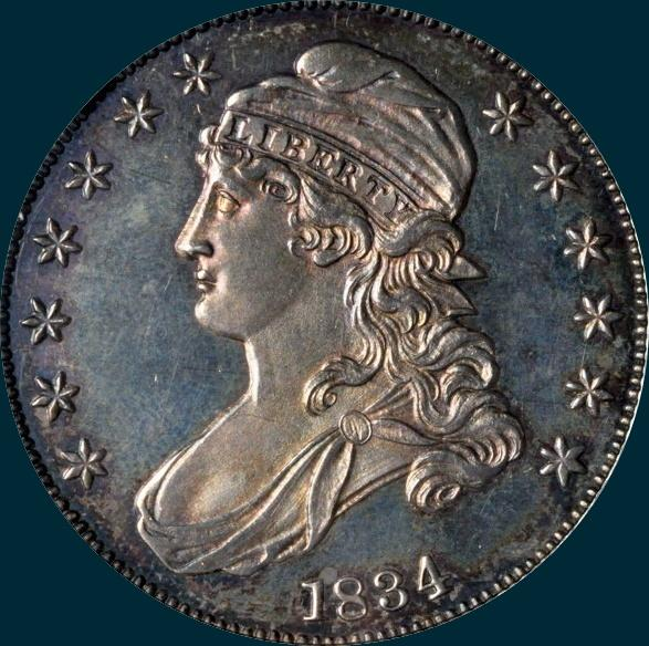 1834, O-122, Crushed Letter Edge, Capped Bust Half Dollar