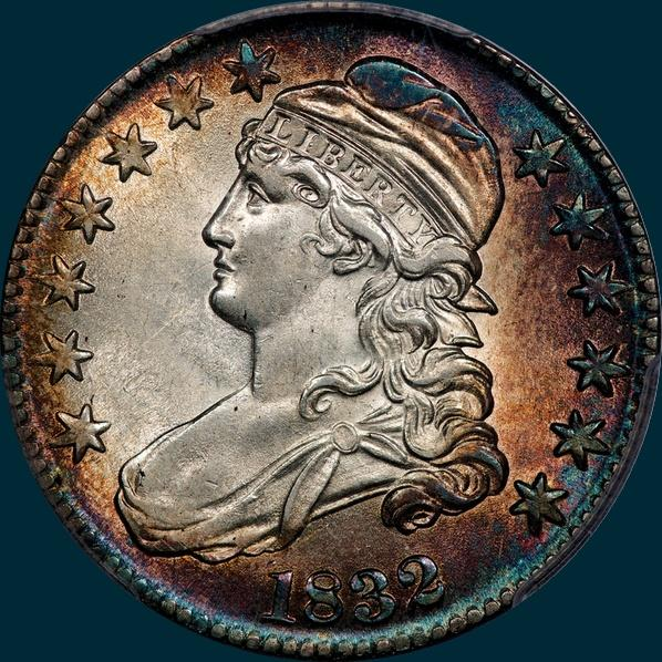 1832 O-122 capped bust half dollar
