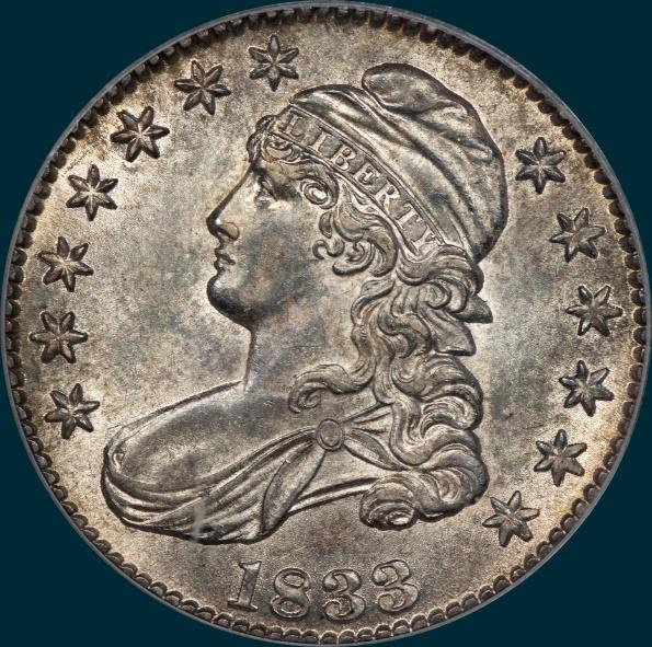 1833 O-109, capped bust half dollar