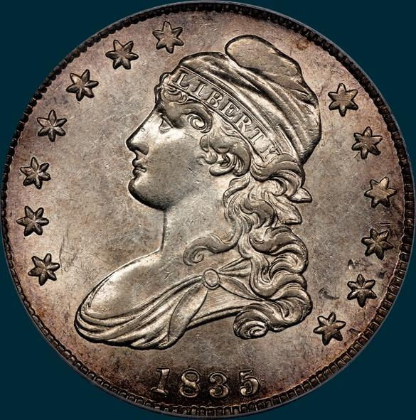 1835, O-102, Capped Bust, Half Dollar