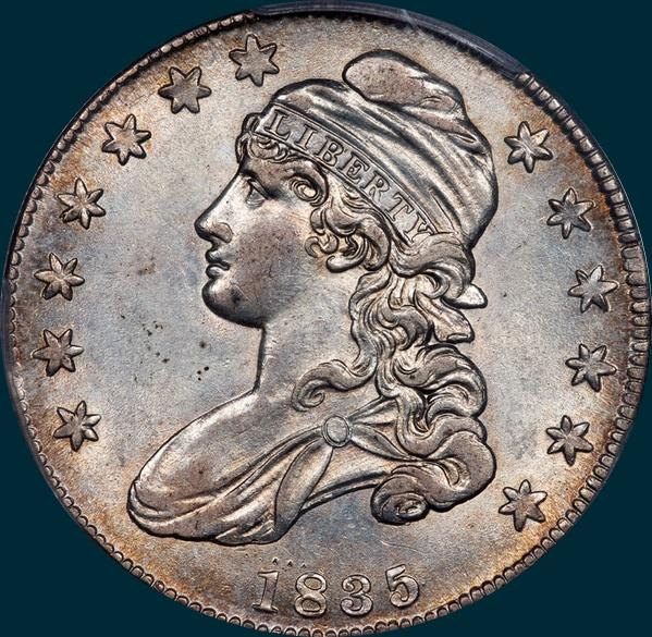1835, O-105, Capped Bust, Half Dollar