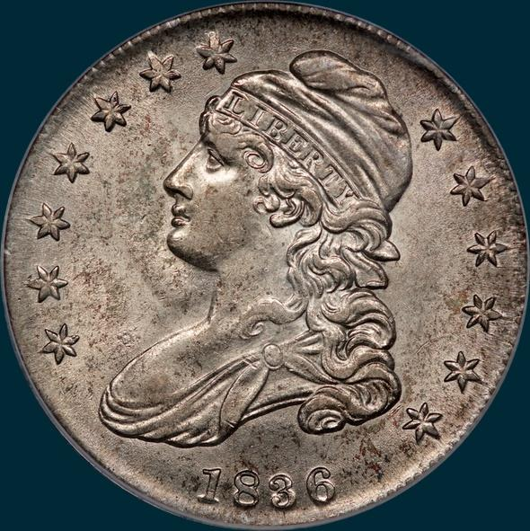 1836 o-114, capped bust half dollar