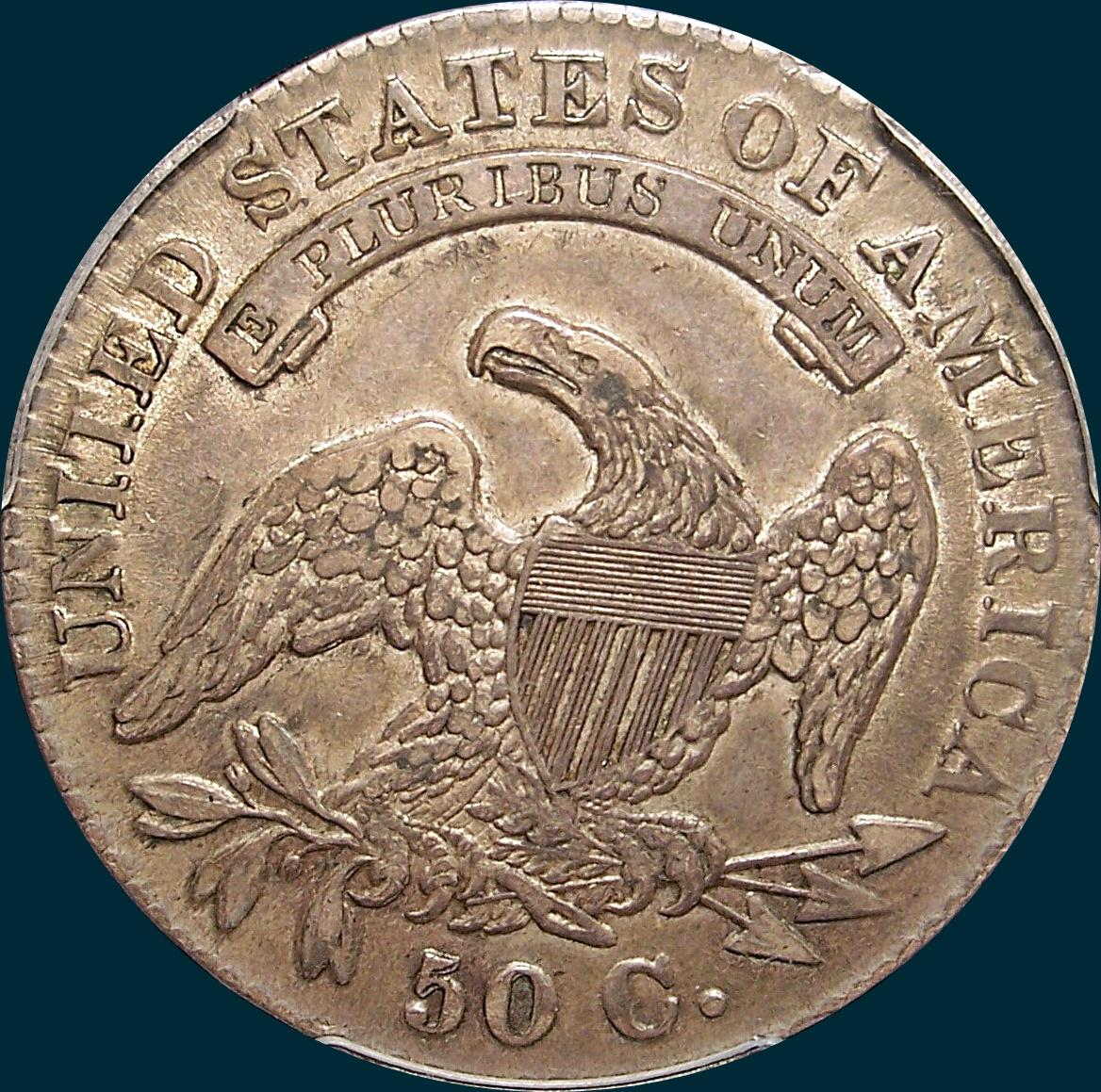 1830 O-122, large 0, capped bust half dollar
