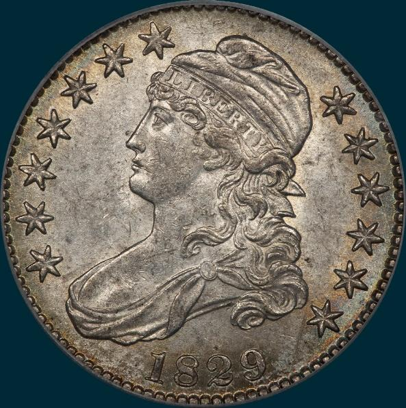 1829 O-110, capped bust half dollar