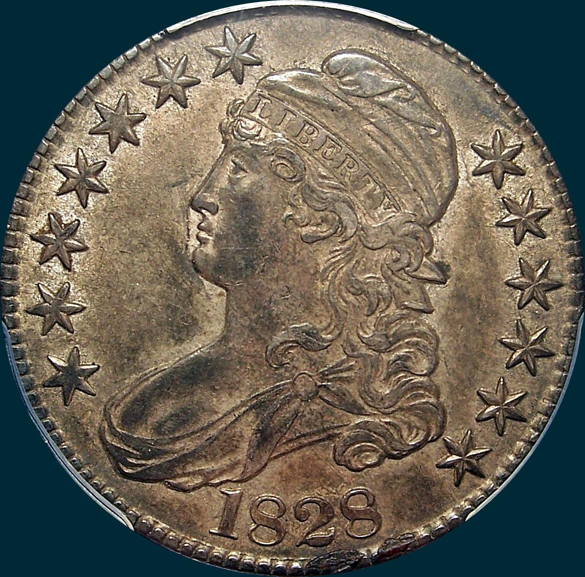 1828, O-107, Curl Base 2, Knob, Capped Bust, Half Dollar