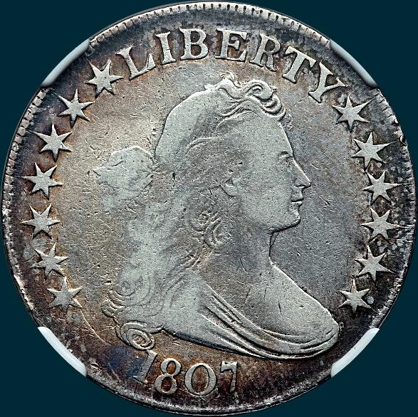 1807, O-107, Draped Bust, Half Dollar