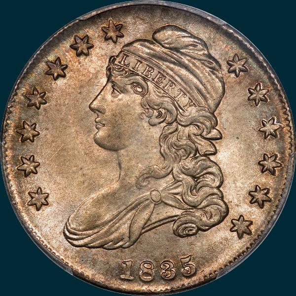 1835, O-101, Capped Bust, Half Dollar