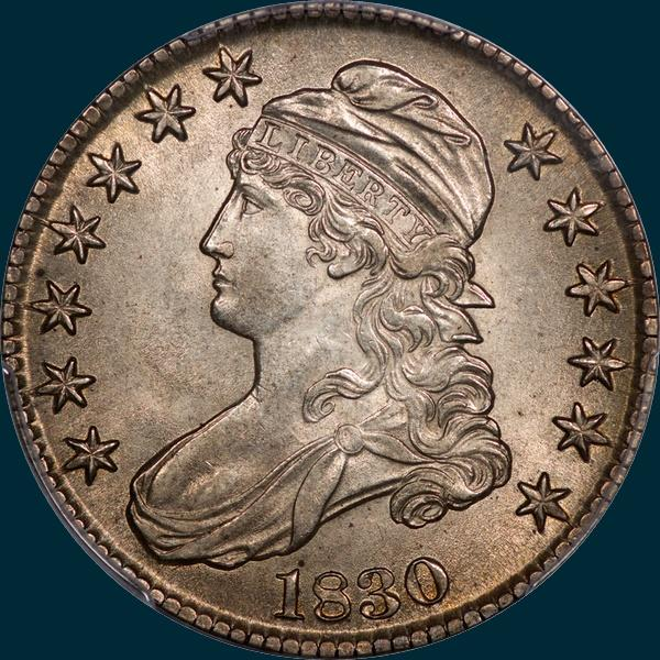 1830 O-113, small 0, capped bust half dollar