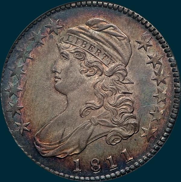1811, O-105, Small 8, Capped Bust, Half Dollar