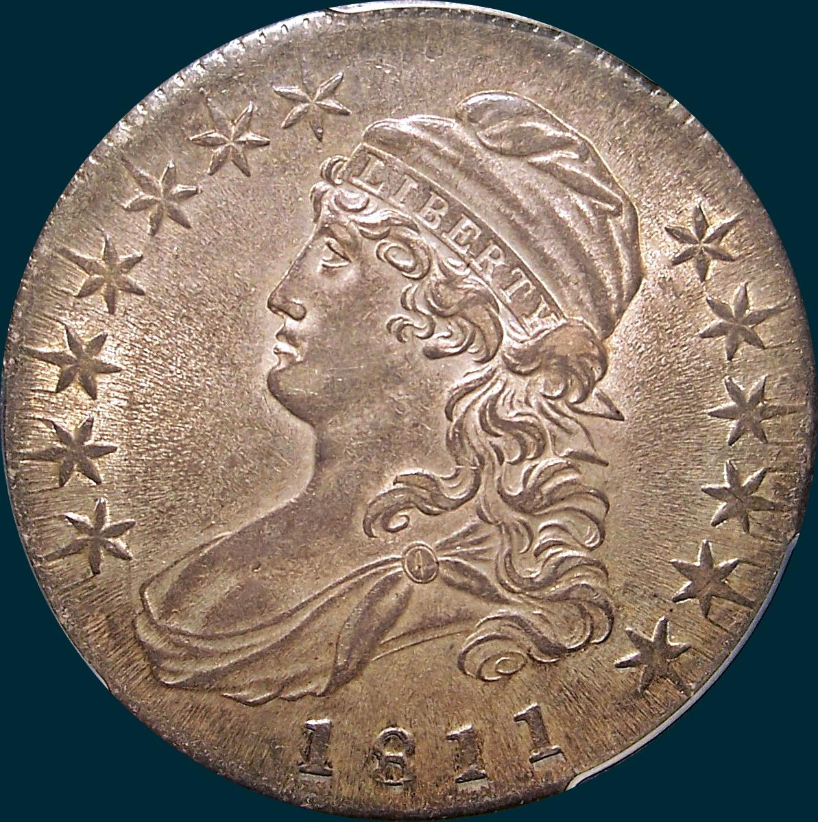 1811 o-108, small 8, capped bust half dollar