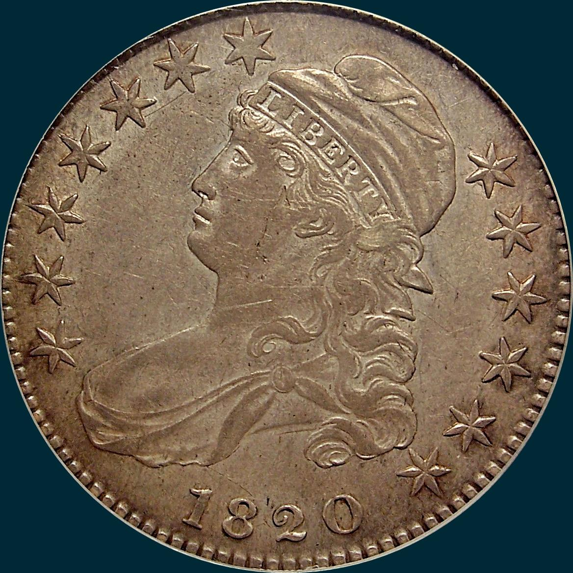 1820, O-103, Small Date, Curled 2, Capped Bust Half Dollar