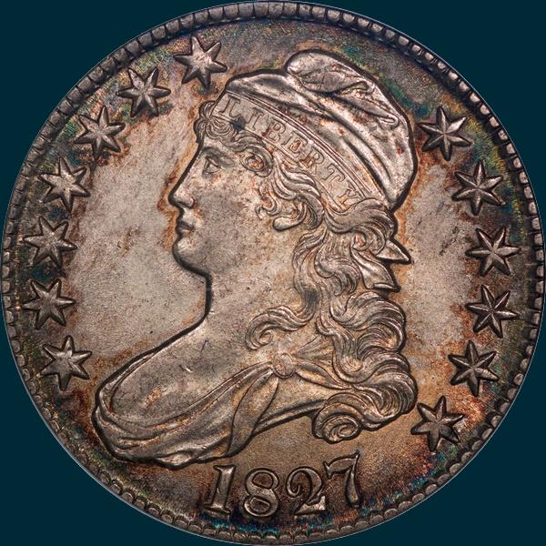 1827, O-114, R3, Square Base 2, Capped Bust, Half Dollar