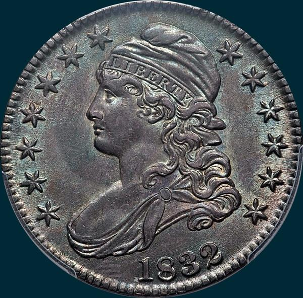 1832 O-118 capped bust half dollar