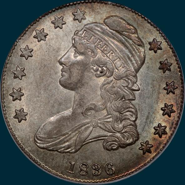 1836 O-106, beaded Border reverse, capped bust half dollar