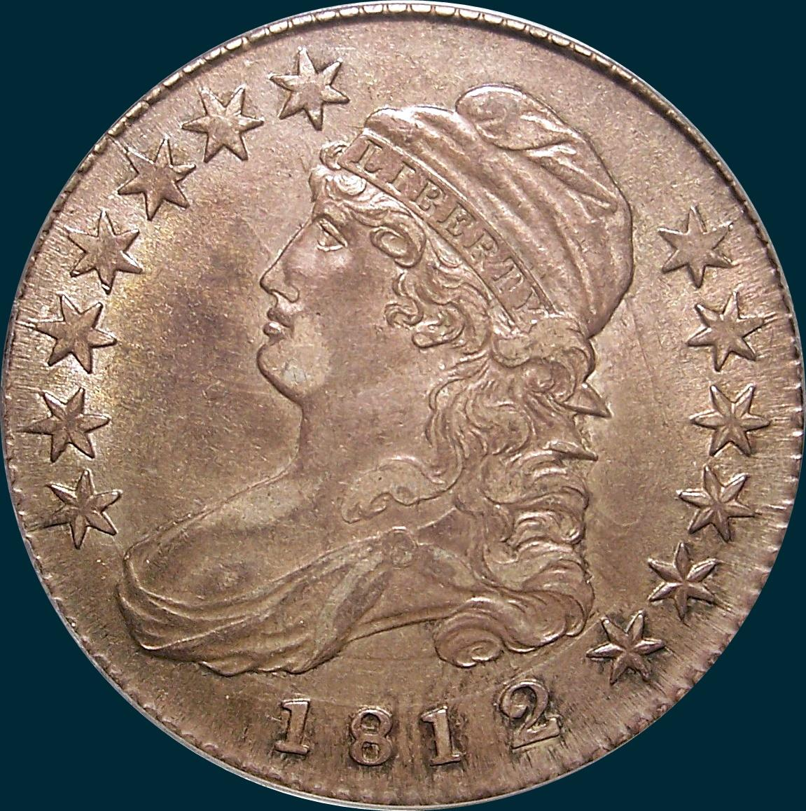 1812, O-102, 2/1, or 12/11, 12 over 11, 2 over 1, Overdate, Small 8, Capped Bust, Half Dollar