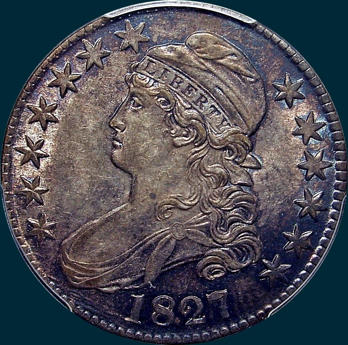 1827, O-120a, R3, Square Base 2, Capped Bust, Half Dollar