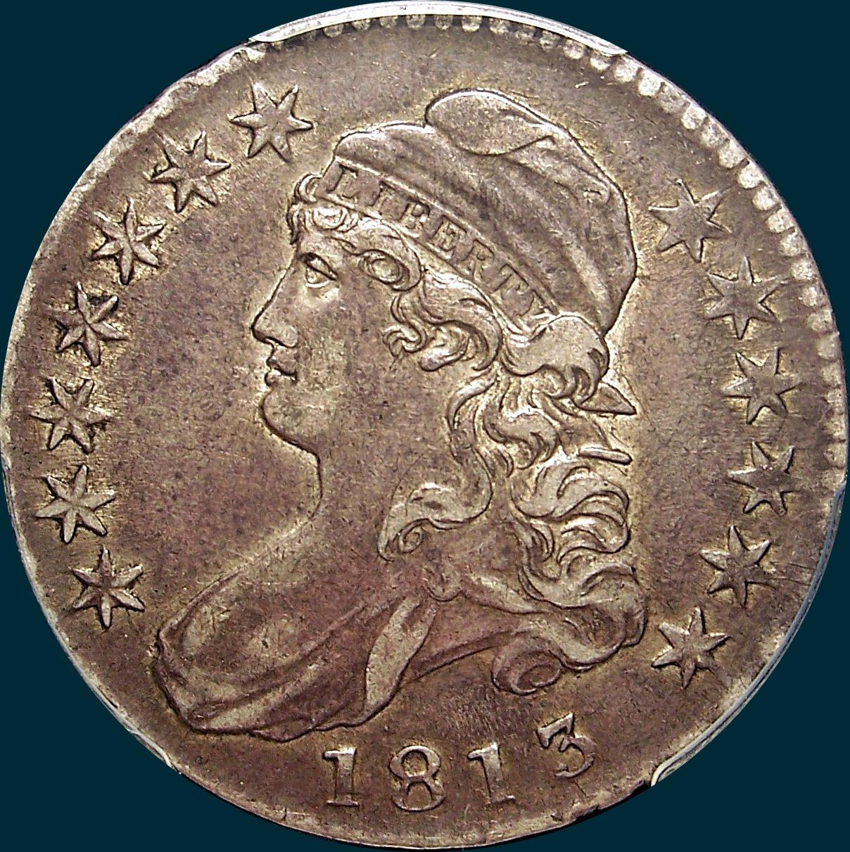 1813 o-109, capped bust half dollar