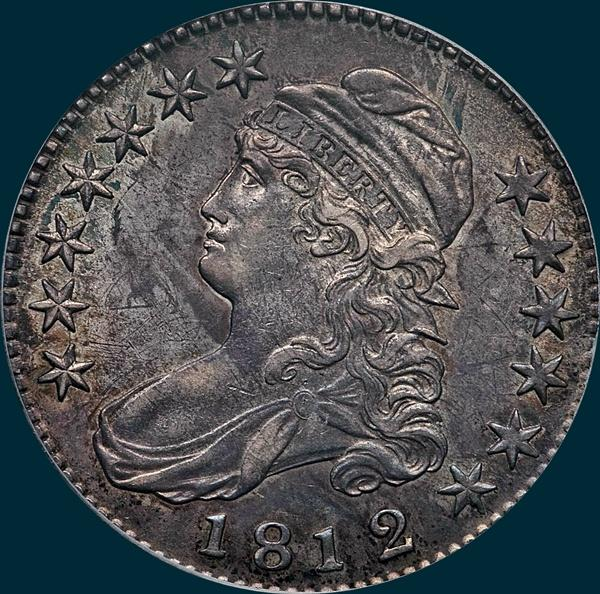 1812, O-102, 2/1, or 12/11, 12 over 11, 2 over 1, Large 8, Capped Bust, Half Dollar