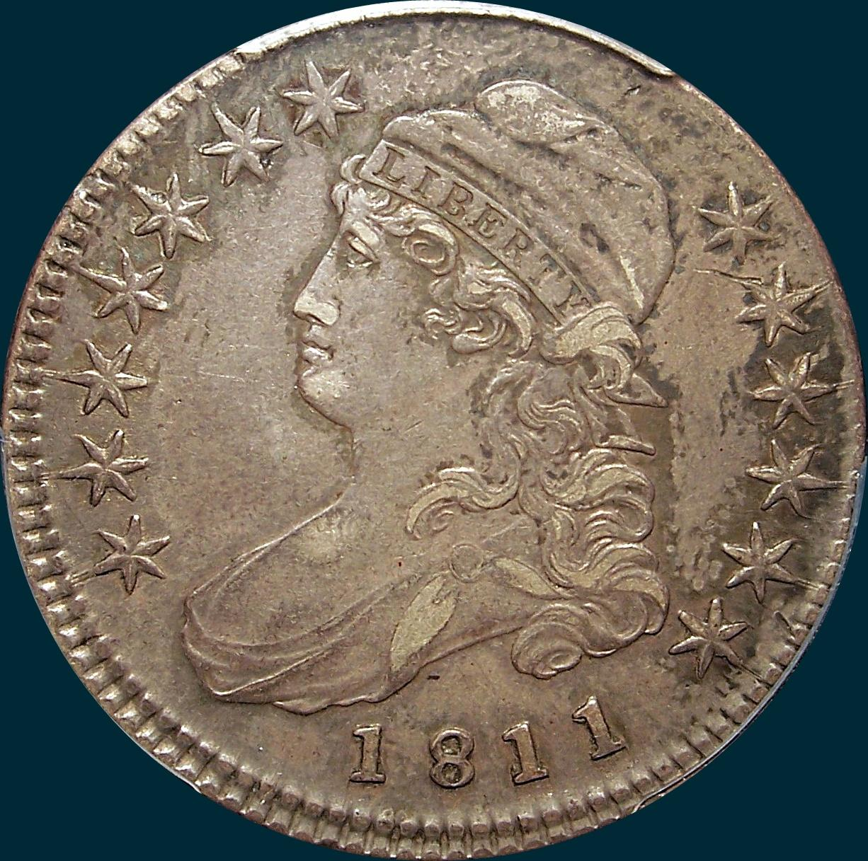 1811 o-107, small 8, capped bust half dollar