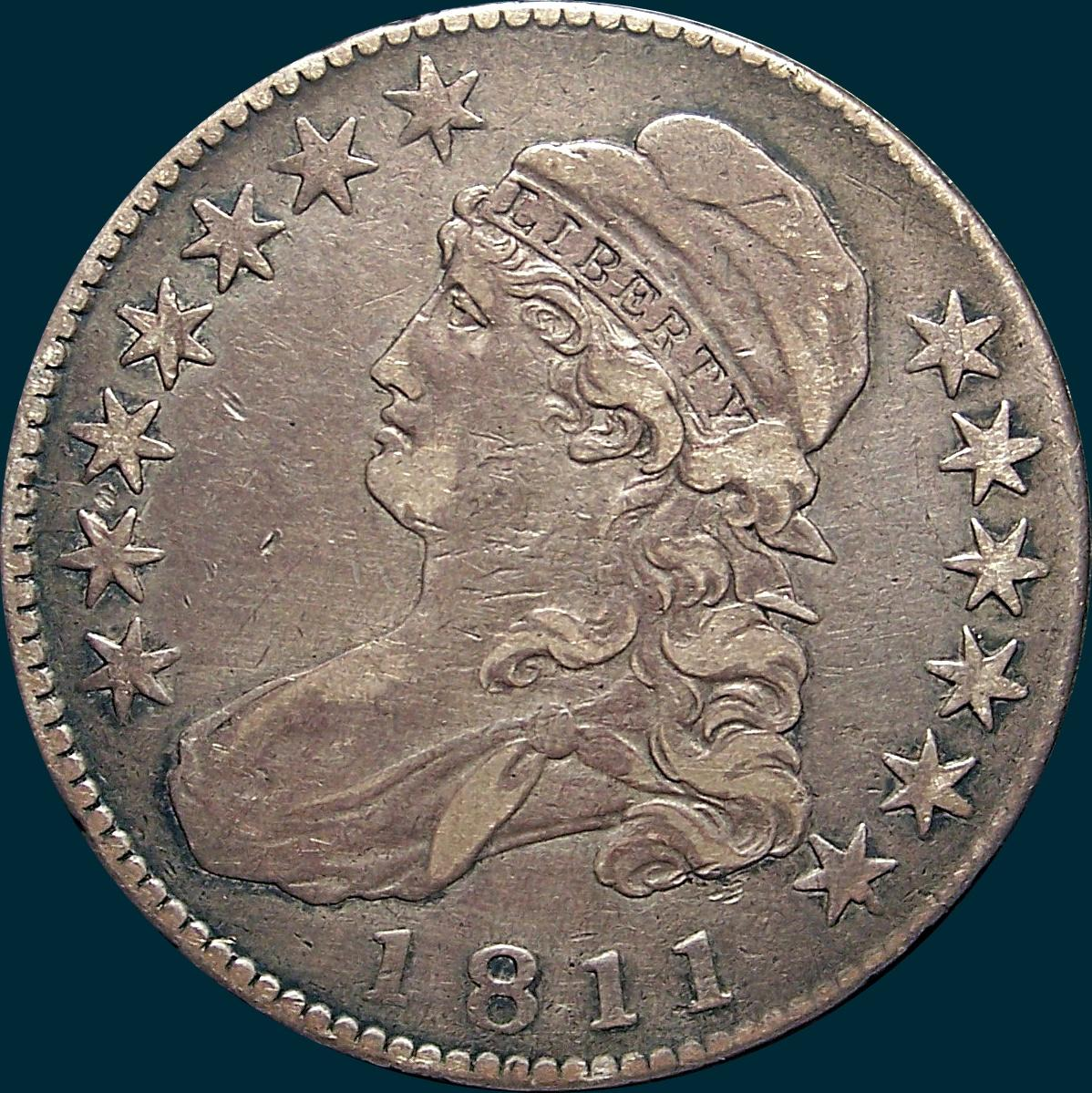 1811 O-104, Large 8, Capped bust half dollar