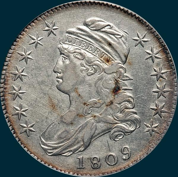 1809 O-108 capped bust half dollar
