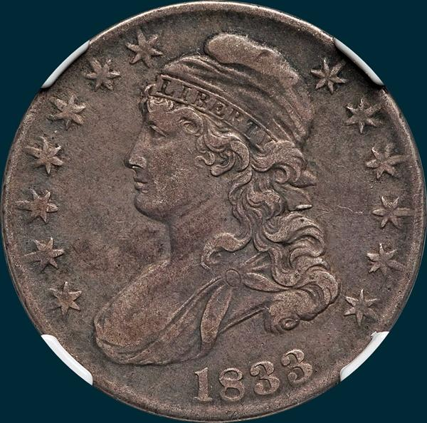 1833 O-115, capped bust half dollar